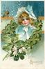 LOVE'S GREETING  head & shoulders of girl in blue dress & bonnet inset in four leaf clover garland, lilies-of-the-valley