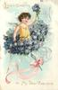 LOVE'S GREETING TO MY DEAR VALENTINE  flower angel in bunch of violets