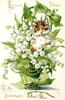 LOVES TOKEN TO MY SWEETHEART  cat in basket of lilies-of-the-valley