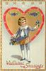 VALENTINE GREETINGS  boy in violet suit with basket of violets in front of red bordered heart