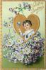 VALENTINE GREETINGS  boy's head & shoulder insert in gilt heart above blue flowers with yellow centres