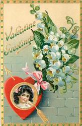 VALENTINE GREETINGS  girls head insert in gilt & red heart, arrow,  lilies-of-the-valley above
