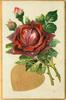 VALENTINE GREETINGS  in gilt heart below red roses