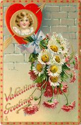 VALENTINE GREETINGS  insert of girls head in gilt & red heart, arrow, daisies below