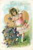 VALENTINE GREETINGS TO MY LOVE  girl with basket of violets in front of gilt heart