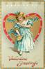VALENTINE GREETINGS  girl in blue dress stands in front of gilt heart bordered in red, holds basket of blue forget me nots