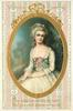 VALENTINE GREETINGS  MAY HAPPINESS DWELL IN THY HEART AND LOVE ABIDE WHERE'ER THOU ART  gilt bordered insert of lady in old style dress