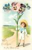 WITH FOND LOVE TO MY VALENTINE  boy in white holds exaggerated pansies