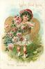 WITH FOND LOVE TO MY VALENTINE  girl with basket of pink roses in front of gilt heart