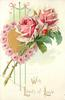 WITH LOADS OF LOVE  gilt heart bordered with pink roses, two large pink roses stems left