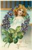 WITH LOVING THOUGHTS  head & shoulders of girl in white dress, framed by circlet of violets