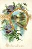 WITH LOVING THOUGHTS  horseshoe gilt framed rural insert, pansies left