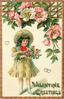 VALENTINE GREETINGS  girl  in cream dress looks down at armful of flowers, dog-roses above