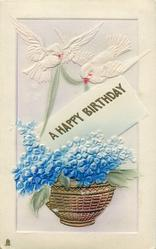 A HAPPY BIRTHDAY  birds, blue flowers
