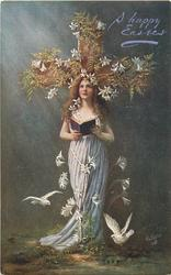 angel standing close in front of cross, lilies around, two white doves