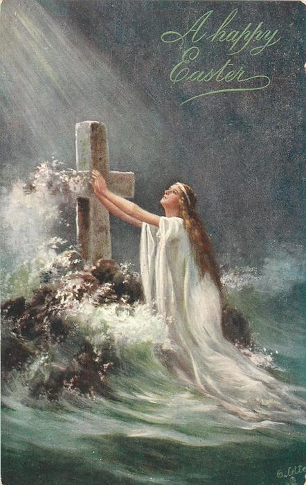 angel with arms outstretched to stone cross in sea