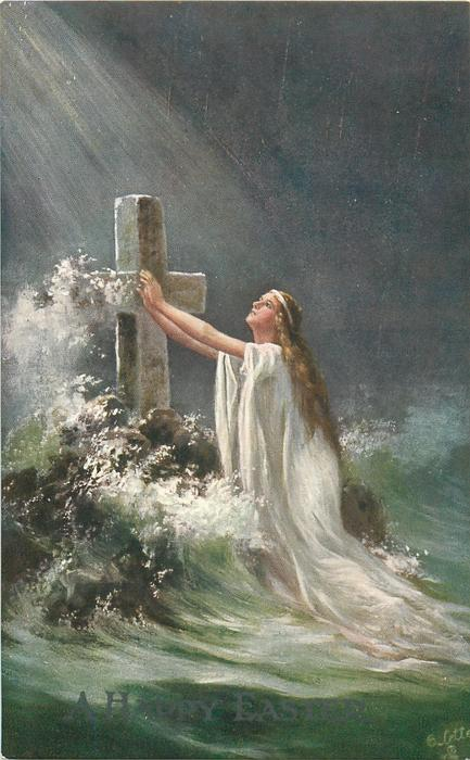 A HAPPY EASTER  angel with arms outstretched to stone cross in sea