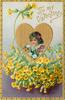 TO MY VALENTINE  insert of girls face in gilt heart, yellow primroses below