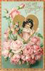 TO MY VALENTINE  insert of girls head & shoulders in gilt heart, pink roses below