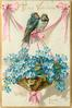 TO MY VALENTINE  WITH FOND LOVE  two swallows sit on pink ribbon above basket of forget-me-nots