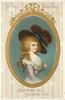 TO MY VALENTINE  JOY BEFRIEND YOU, LOVE ATTEND YOU  insert in gilt of lady in fancy hat & old style dress  image****