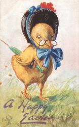 A HAPPY EASTER  chick in bonnet tied on with blue bow carries umbrella & book under wing, wears glasses