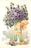 TO THE ONE I LOVE  glass vase of violets, orange/yellow ribbon
