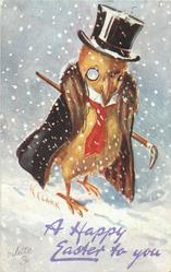 A HAPPY EASTER  chick in brown coat, red tie, top hat, cane & monacle faces parly right in blizzrd