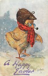 A HAPPY EASTER  chick in brown hat, red  scarf, smokes pipe, looking front, facing partly right