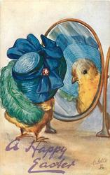 A HAPPY EASTER  chick wears enormous hat and ostrich feather looks in mirror
