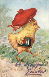 A HAPPY EASTER  chick wears red beret  & runs right with books under wing