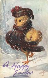 A HAPPY EASTER  chick with brown feathery scarf & matching hat walks left in snow