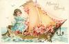 AFFECTION'S OFFERING  girl sails boat full of blossom  image*