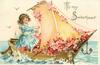 TO MY SWEETHEART  girl sails boat full of blossom  image*
