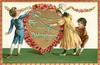 TO MY VALENTINE  children tie blue ribbons to gilt heart bordered with red blossom