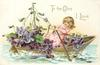 TO THE ONE I LOVE  girl rows boat of violets
