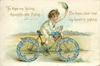 TO THEE MY LOVING THOUGHTS ARE FLYING, FOR THEE, DEAR ONE, MY HEART IS SIGHING  boy on bicycle with floral wheels    image**