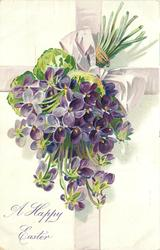 A HAPPY EASTER  violets left, purple bow & ribbon behind, stems upper right