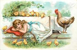 EASTER GREETINGS  hen looks down at girl lying on stone ledge, chicks above & below