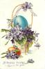 A HAPPY EASTER TO YOU  violets & blue egg in basket, gold egg & violets front