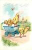 LOVING EASTER GREETINGS  four chicks in blue egg-cart, another pulls