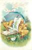 LOVING EASTER GREETINGS  four chicks pecking at book in front of blue parasol