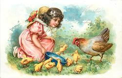 LOVING EASTER GREETINGS  girl kneels offering blue bowl of food to chicks & hen