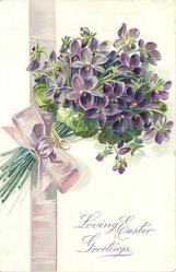 LOVING EASTER GREETINGS  violets & purple ribbon