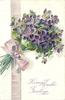 LOVING EASTER GREETINGS  violets & purple ribbon