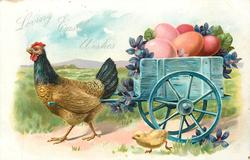 LOVING EASTER WISHES  hen pulls cart of Easter eggs & violets to left, chick alongside