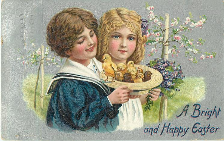 A BRIGHT AND HAPPY EASTER  boy and girl hold straw hat full of chicks