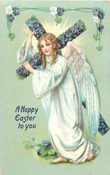 A HAPPY EASTER TO YOU  angel carries cross left