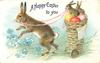 A HAPPY EASTER TO YOU  rabbit pulls basket with two bunnies & three Easter eggs