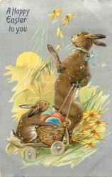A HAPPY EASTER TO YOU  rabbit pulls cart with bunny & eggs on it